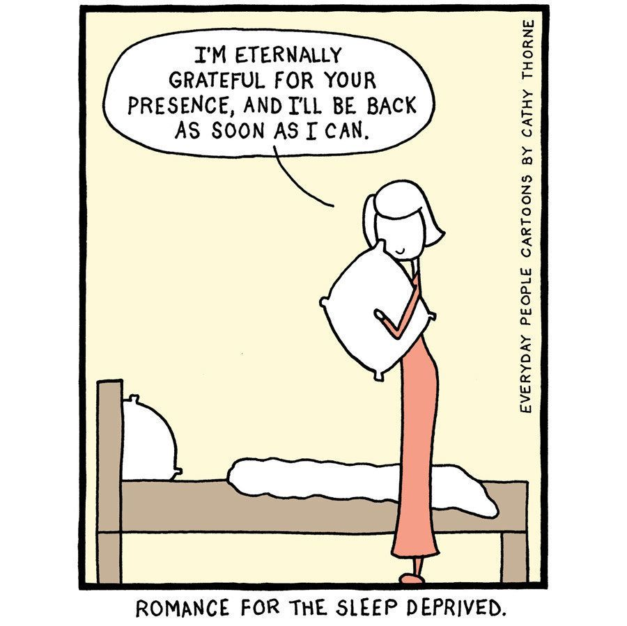21 Too Real Cartoons About The Struggle To Practice Mindfulness Huffpost Life Funny Health Quotes Sleep Cartoon Sleep Deprivation