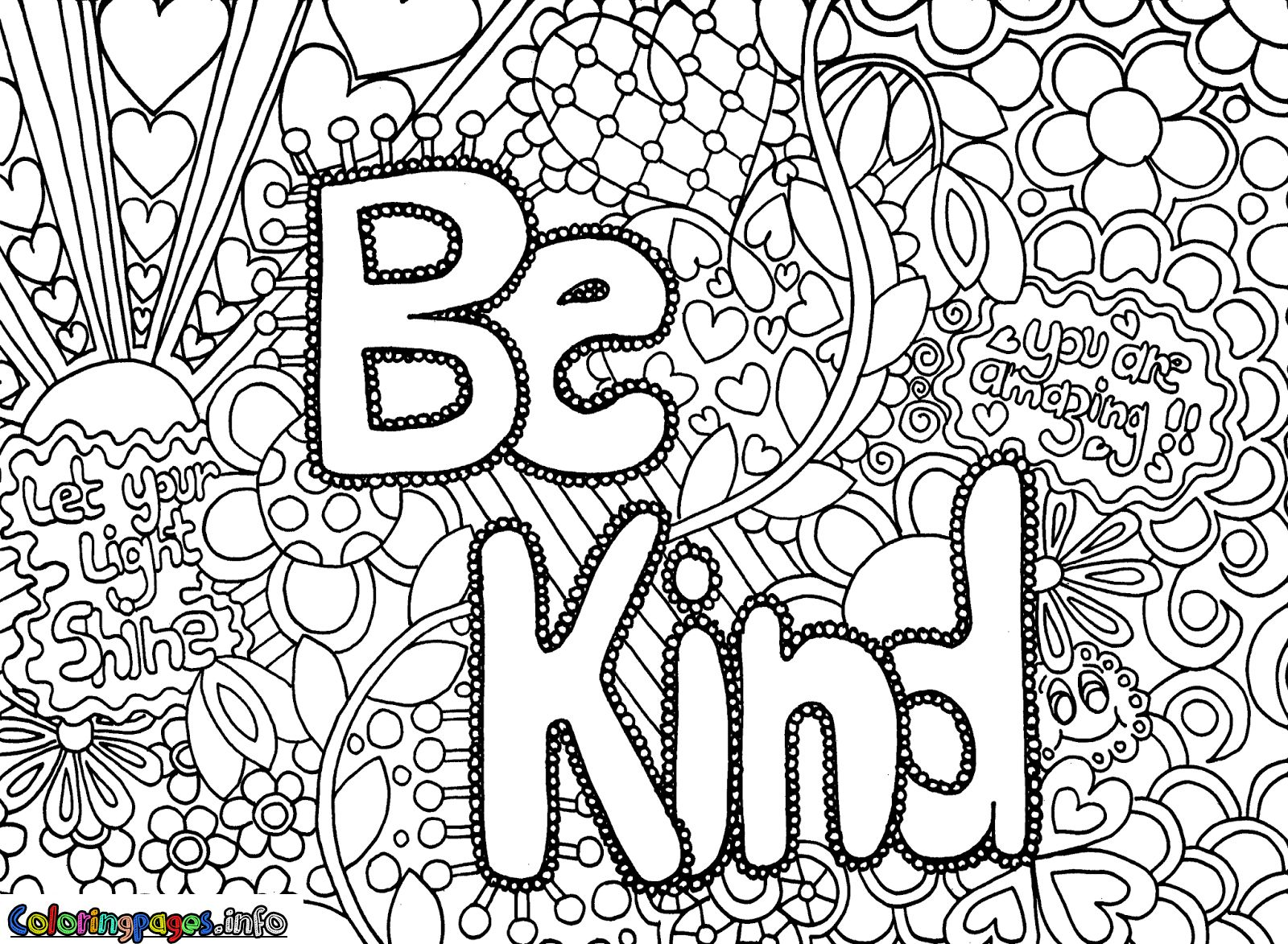 Coloring Pages 14 Be Kind Hard Detailed Coloring Pages Coloring Pages For Teenagers Abstract Coloring Pages