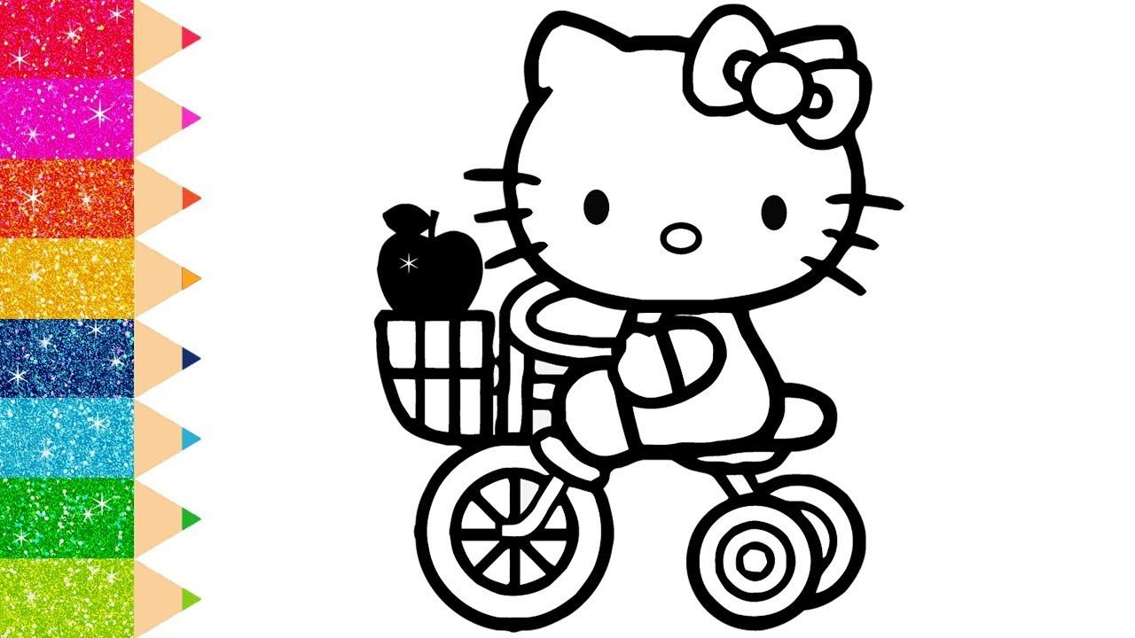 Glitter Hello Kitty On A Bicycle Coloring Pages For Kids And Learn Colors