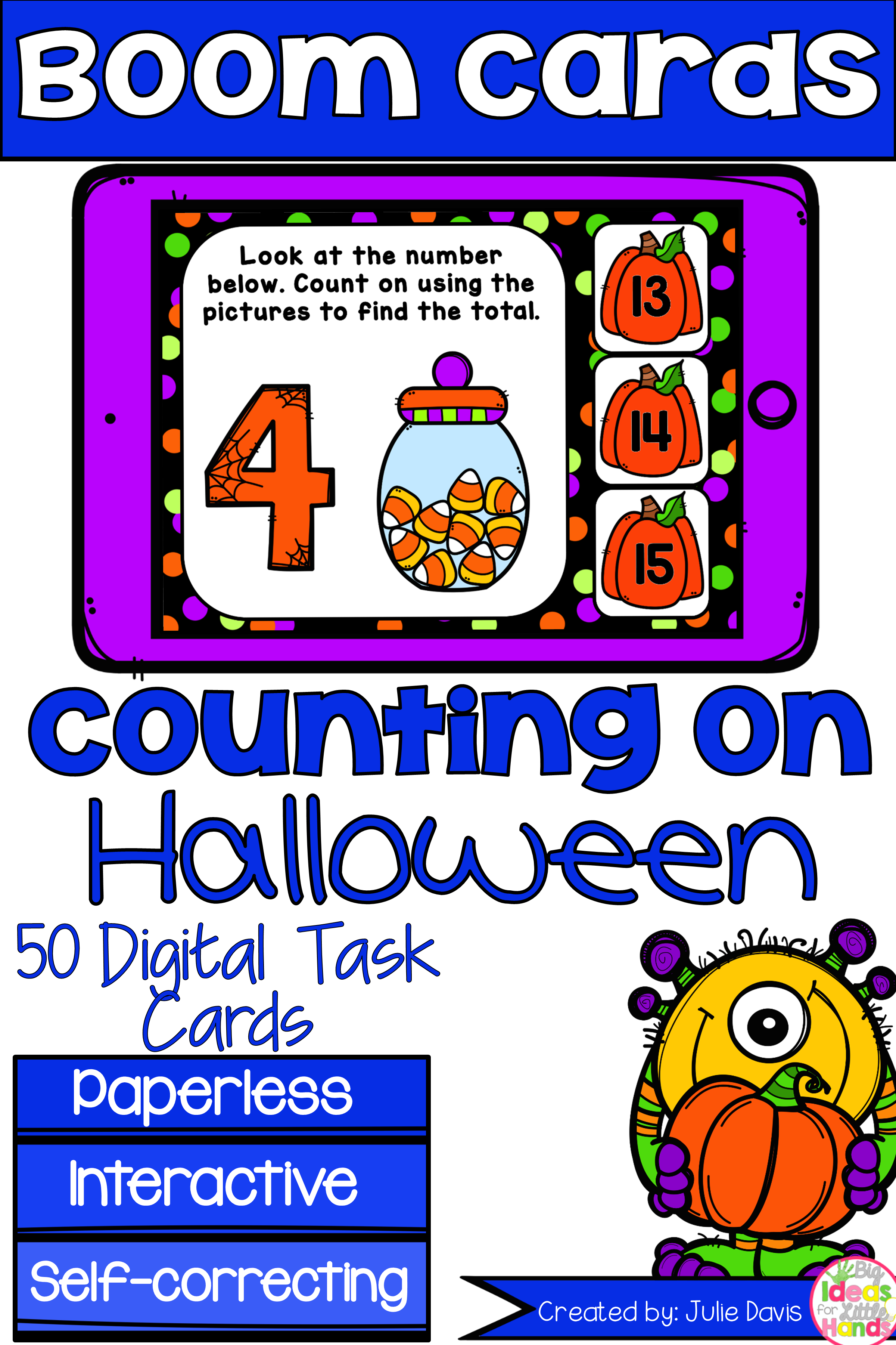 Halloween Counting On Addition Digital Game Boom Cards