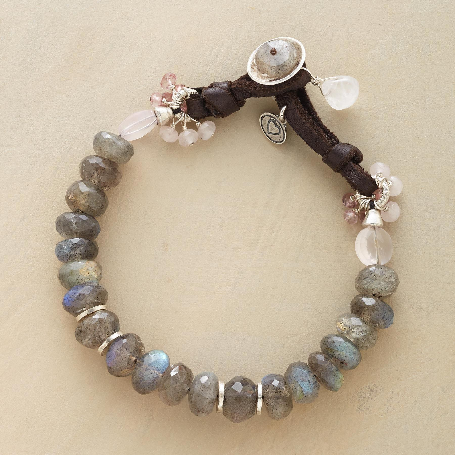 Out of the mist bracelet blushing beads of rose quartz are pretty
