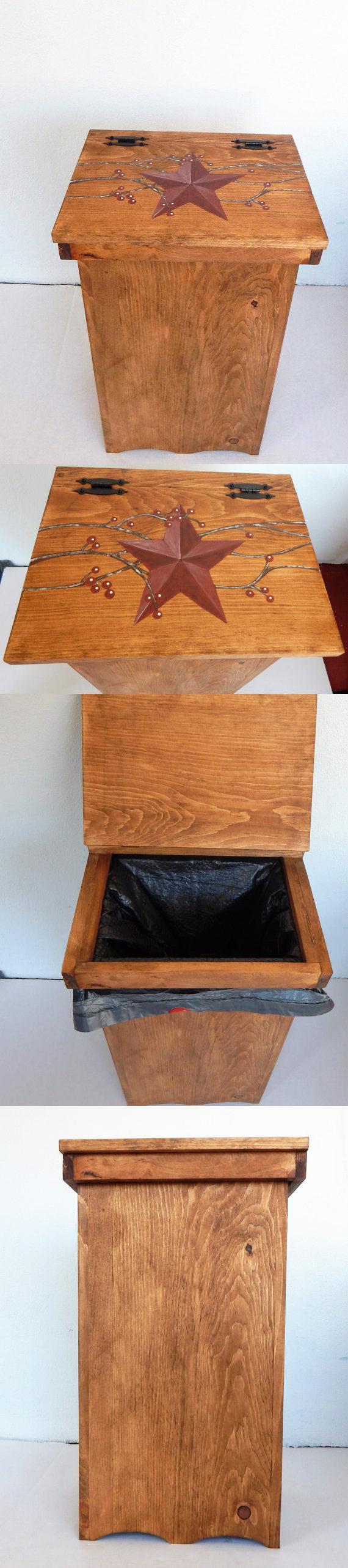 Trash Cans And Wastebaskets 20608: Kitchen Trash Bin, Wooden Trash Bin,  Handmade Trash