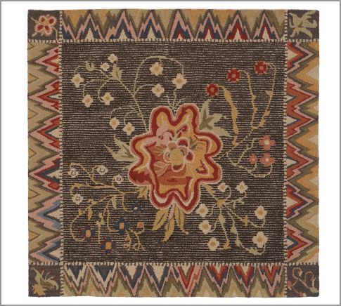 """From Pottery Barn: Copied from a rug in the collection of the Shelburne Museum """"to create this exact replica of an antique textile attributed to late 18th-century artist Chloe Smith Hayes. Artfully capturing the vibrant floral design and unusual zigzag border of the timeworn artwork, our wool rug's surface showcases an antiqued look that's created by shearing the looped pile in sections."""""""