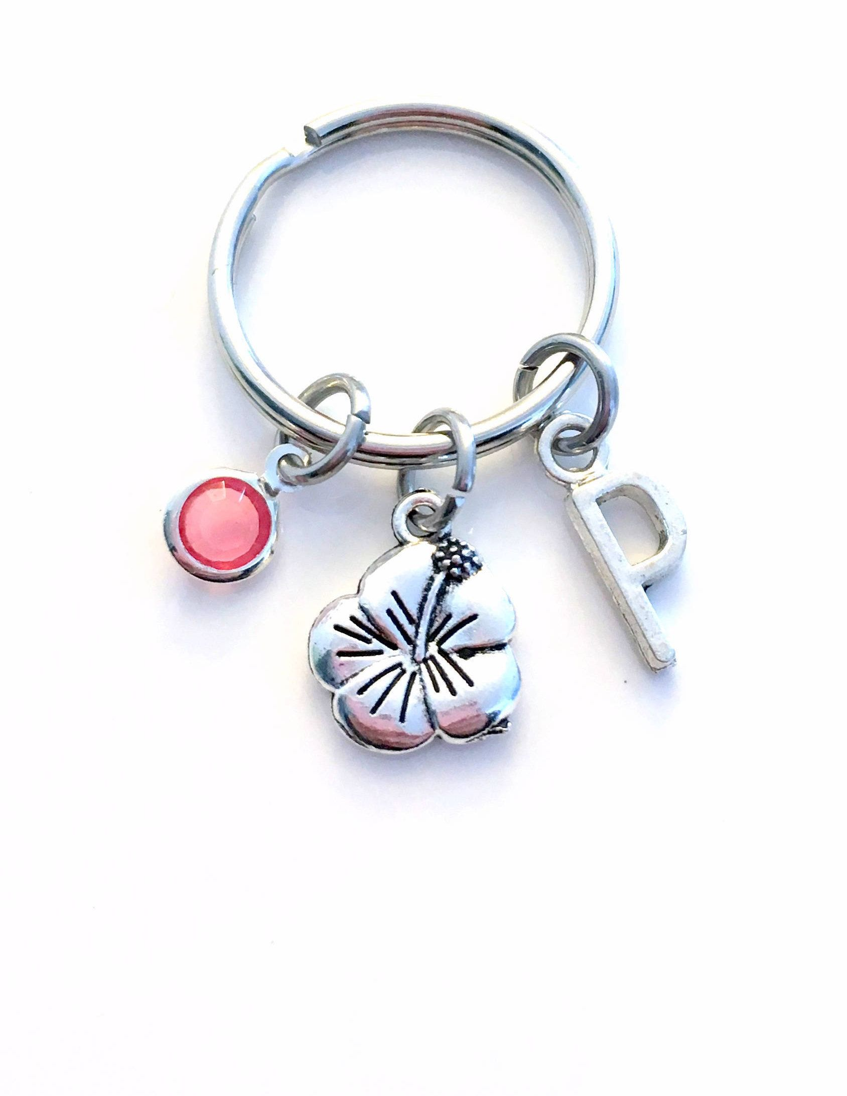 Sea Shell Key Chain Silver Vacation Beach Keyring Gift charm Initial Birthstone present Beach house cottage Jewelry Lighthouse KeyChain