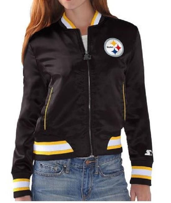 c579beac NEW Women's Starter Black Pittsburgh Steelers Inbound Satin Full-Zip ...