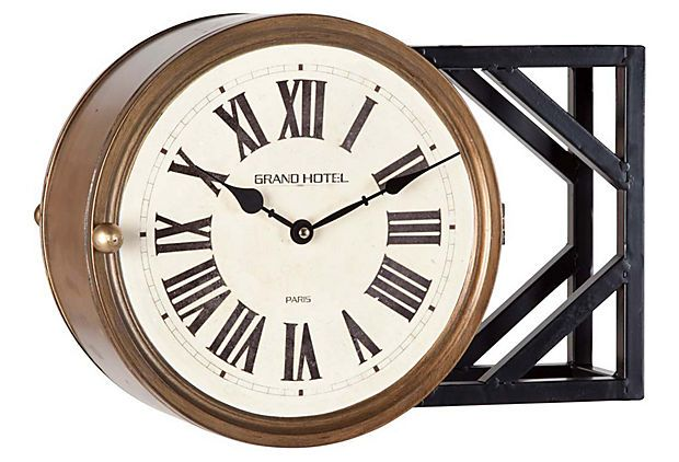 Cool Looking Vintage Style Clock Looks Like Its Double Sided Milford Wall Clock Wall Clock Clock Beautiful Clock