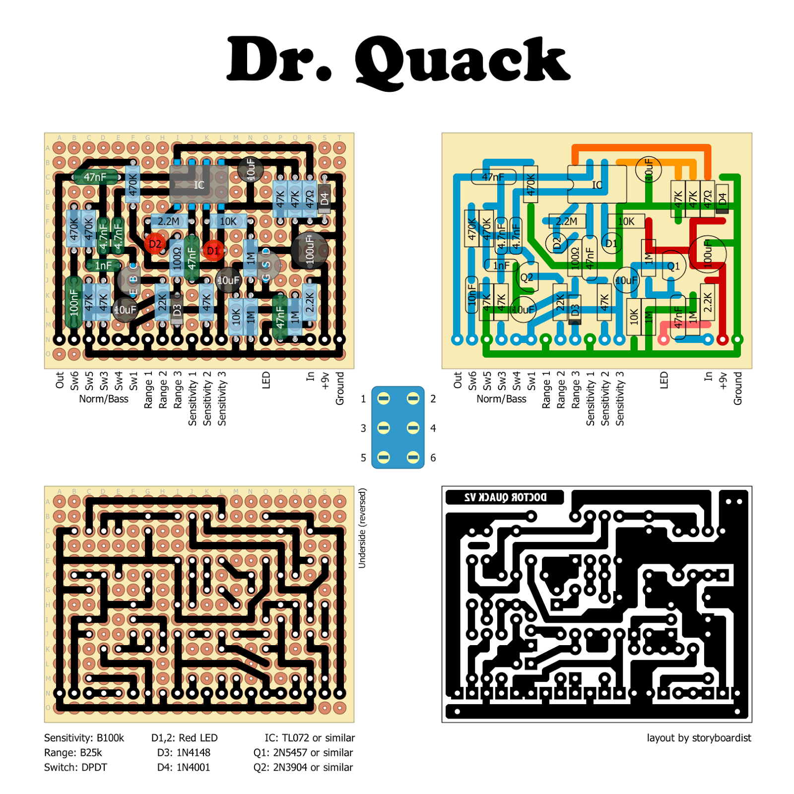 The Dr Quack Is Jack Orman S Improvement On The Ehx Dr Q Envelope Filter Basically There S An Added Input Buffe Diy Guitar Pedal Direct Boxes Guitar Pedals