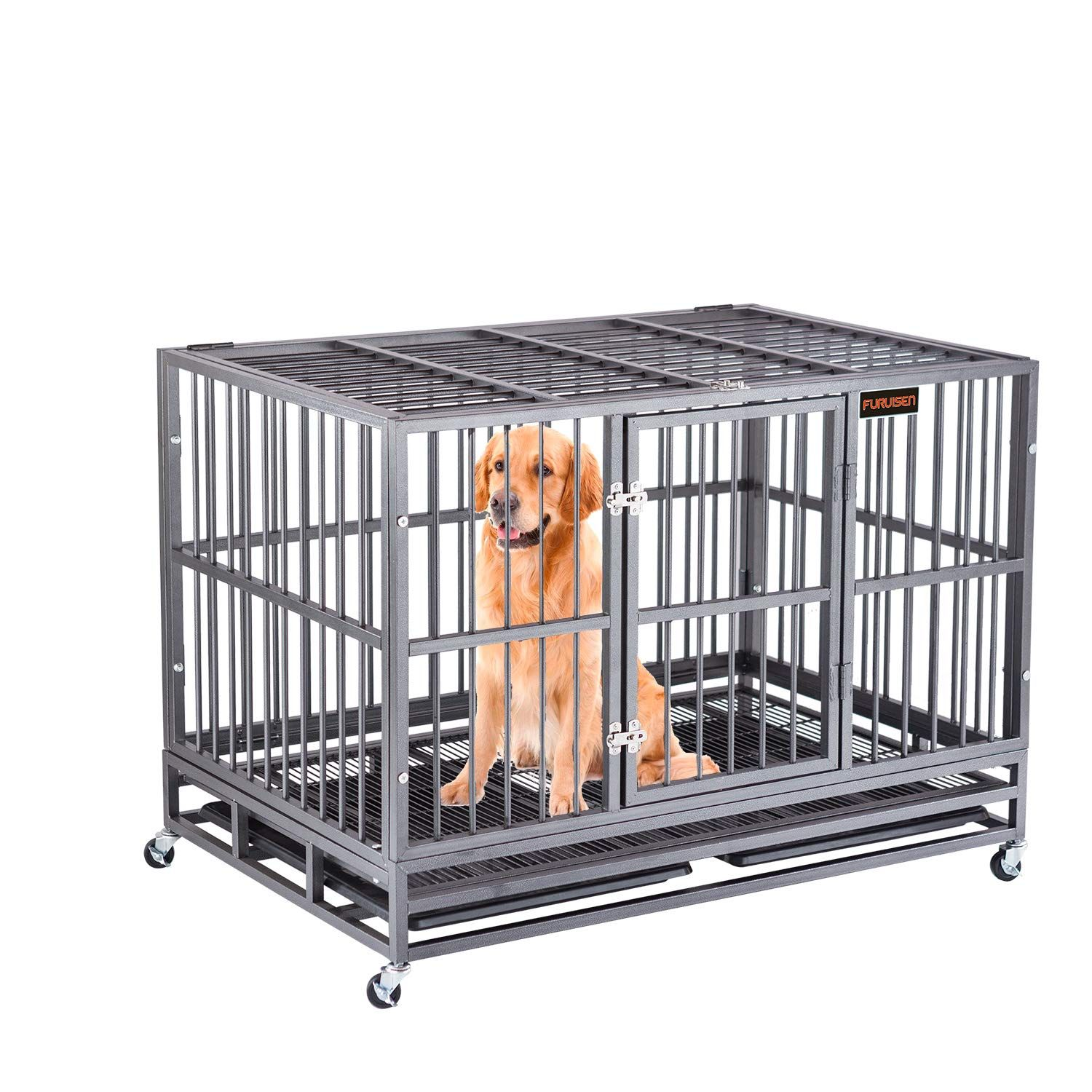 Furuisen 37 Inch Heavy Duty Dog Cage Pet Crate Kennel Playpen With Two Door You Can Get Additional Details At The Heavy Duty Dog Crate Pet Kennels Dog Crate