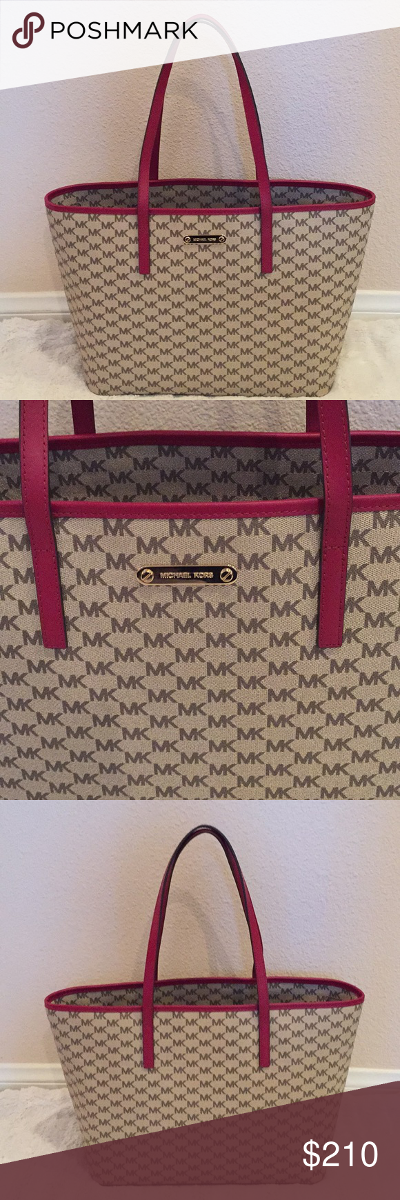 7ea542261252 NWT Michael Kors Emry Tote🌟 NWT Michael Kors Emry Tote, the color is  natural with cherry leather trim, this is a large bag it measures 18 inches  wide and ...