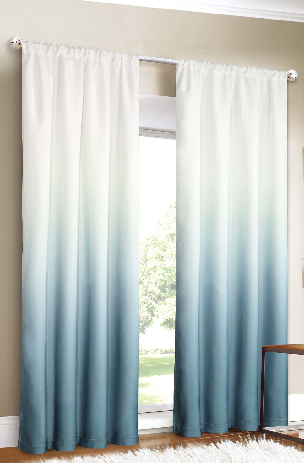 better blue ombré curtain. | home. | Pinterest | Window, Living ...
