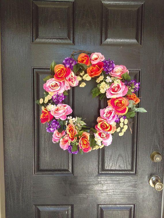 Colorful Wreath, Beautiful Wreaths, Front Door Wreaths, Summer Wreath,  Wreath, Summer