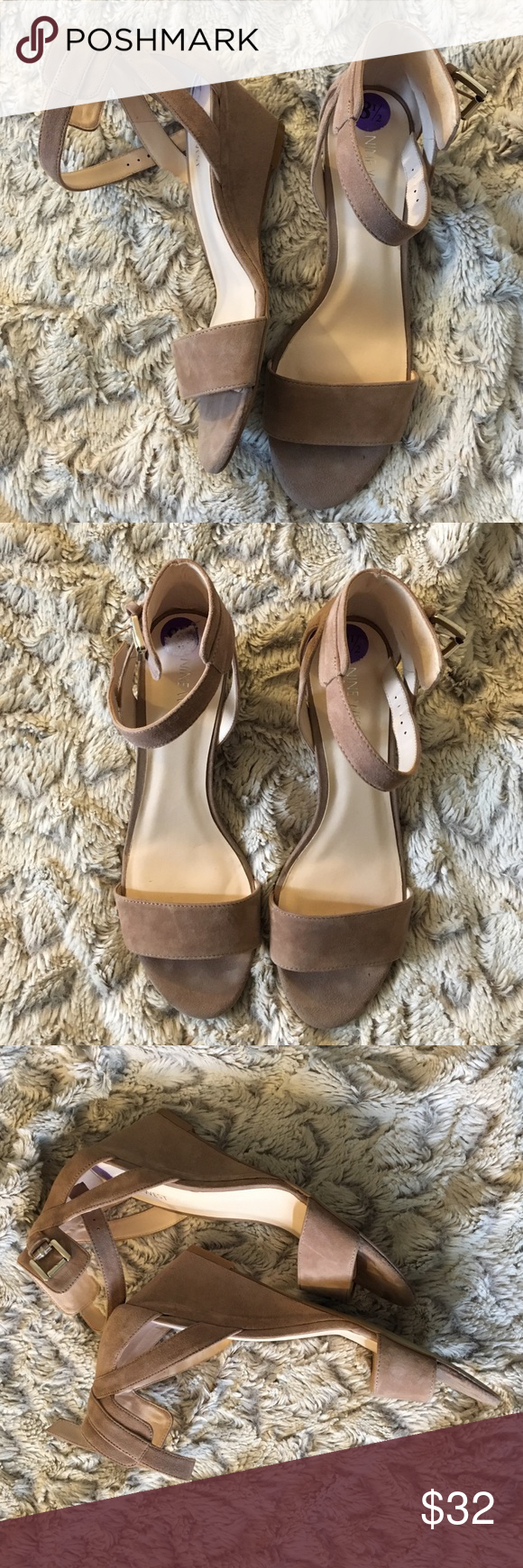 Nine West beige wedges Worn once! GREAT condition! 👍🏻 Nine West beige wedges! Size: 8.5 💕 All sales are negotiable within reason! Make me an offer! 💖 Nine West Shoes Wedges