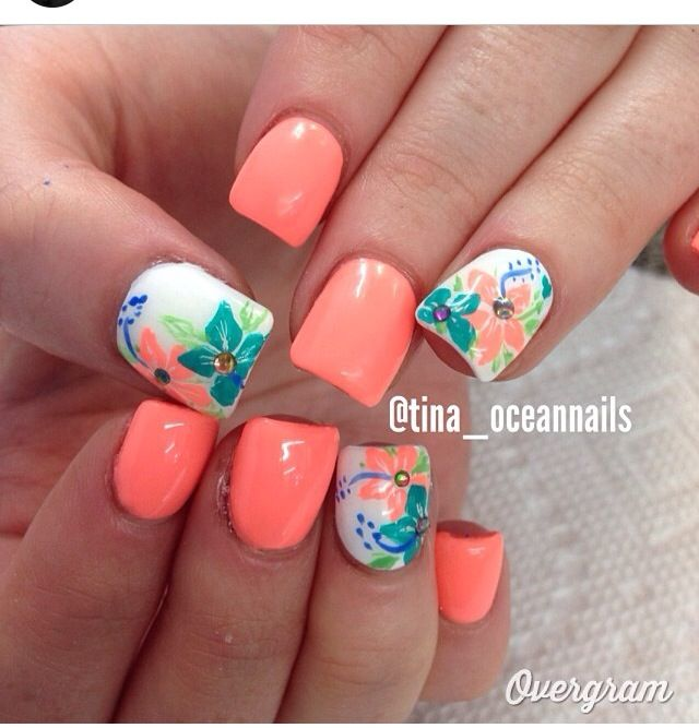 Paint your nails in pretty salmon and hibiscus designs. Matted in salmon,  the rest of the nails are then coated in white polish and painted with a ... - Love It #ishoes #nails SUMMER NAILS Pinterest Pedicures