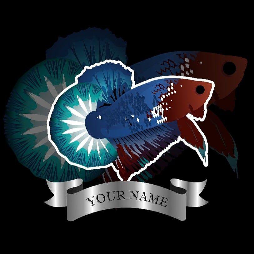 Logo Betta Seni Ikan Lukisan Flamingo Ikan Cupang
