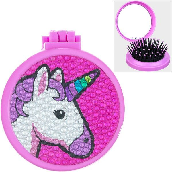 Rhinestone Unicorn Pop Up Brush And Mirror 2 1 4in X 1in