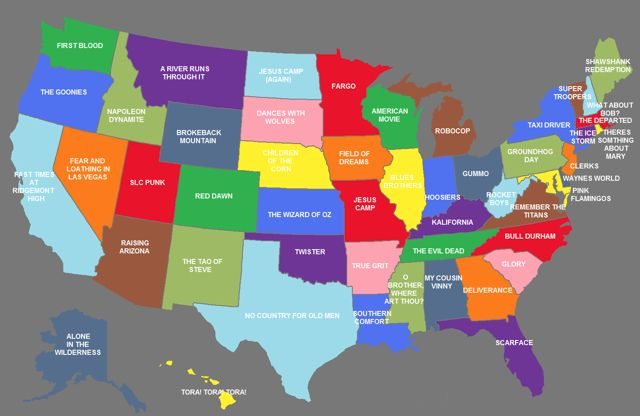 US Map Showing The Movies That Represent Each State | Made Me Smile ...