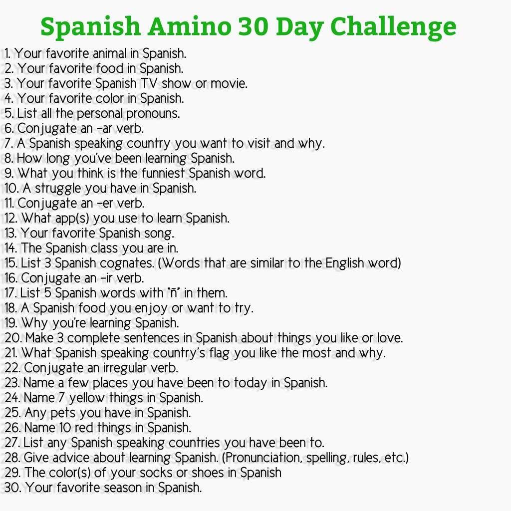 30 Day Spanish Challenge Spanish Speaking Prompts