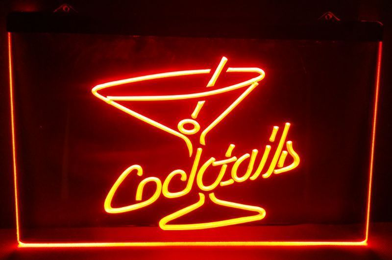 Cocktails Rum Wine Lounge beer bar pub club 3d signs led