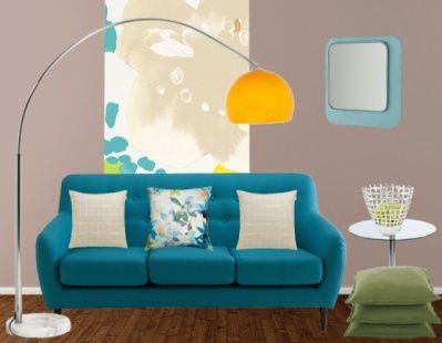 On craque pour ce joli salon avec son canapé bleu et son ...