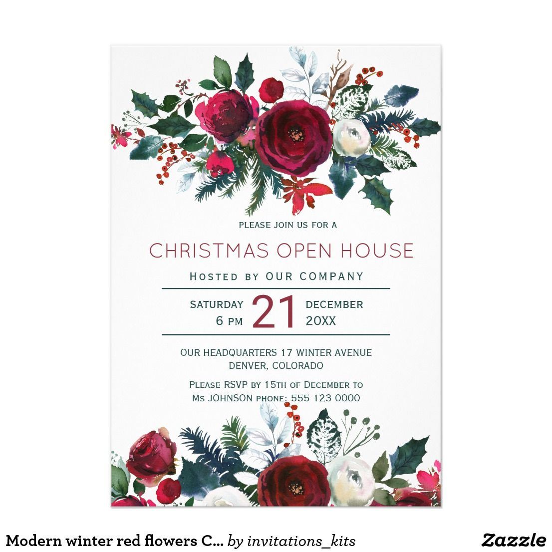Modern winter red flowers Christmas open house Invitation in 2018 ...