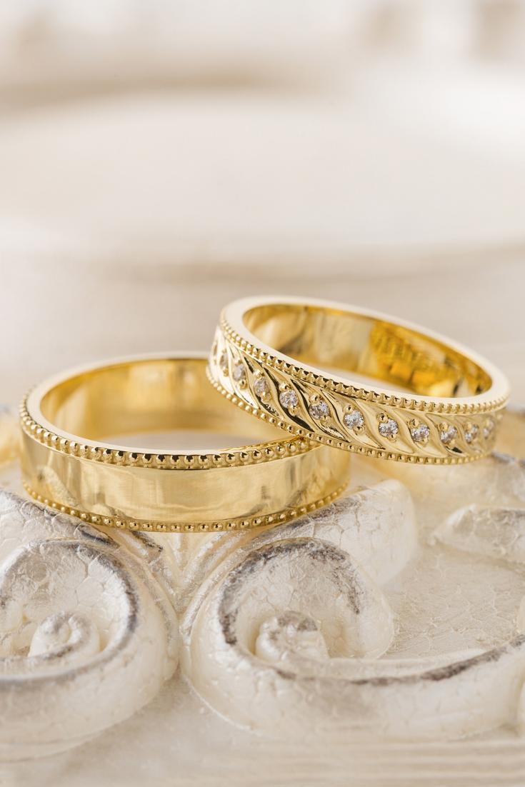 Gold Wedding Bands With Milgrain Details And Diamonds Wedding Etsy Wedding Ring Designs Unique Gold Wedding Rings Aquamarine Engagement Ring Vintage