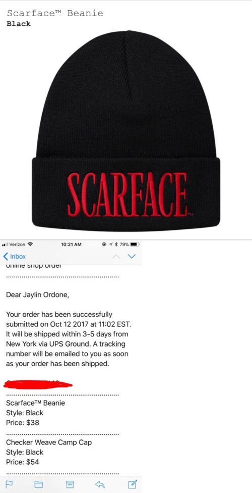 94ec8cd7559c2 Hats 52365   Confirmed  Supreme X Scarface Beanie Black -  BUY IT NOW ONLY    80 on eBay!