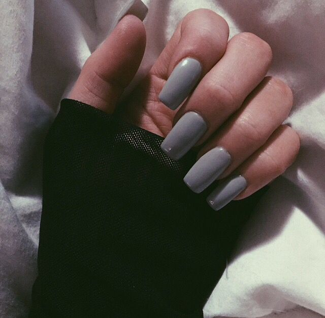 Nails Grey Short Coffin Acrylic