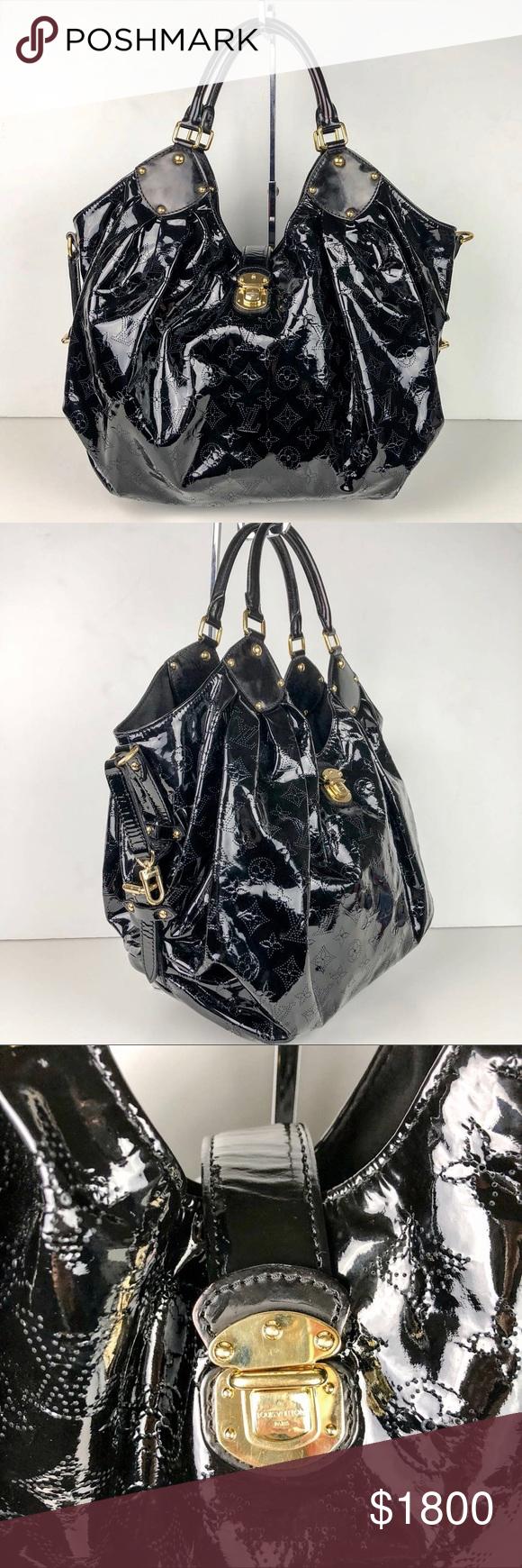4d760f15d9b3 Louis Vuitton Mahina Surya XL Leather Satchel Tote Louis Vuitton Mahina  Surya XL Black Patent Leather