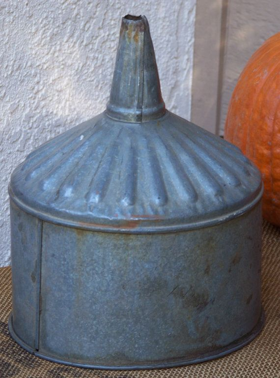 Vintage Galvanized Metal Fence Top Finial Fence Post: Vintage Farm Galvanized Metal Funnel