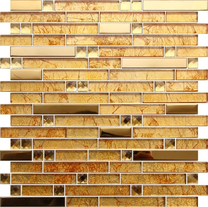 Luxury Hotel gold Decorative Mosaic Tile Linear Wall Mosaic/Crystal ...