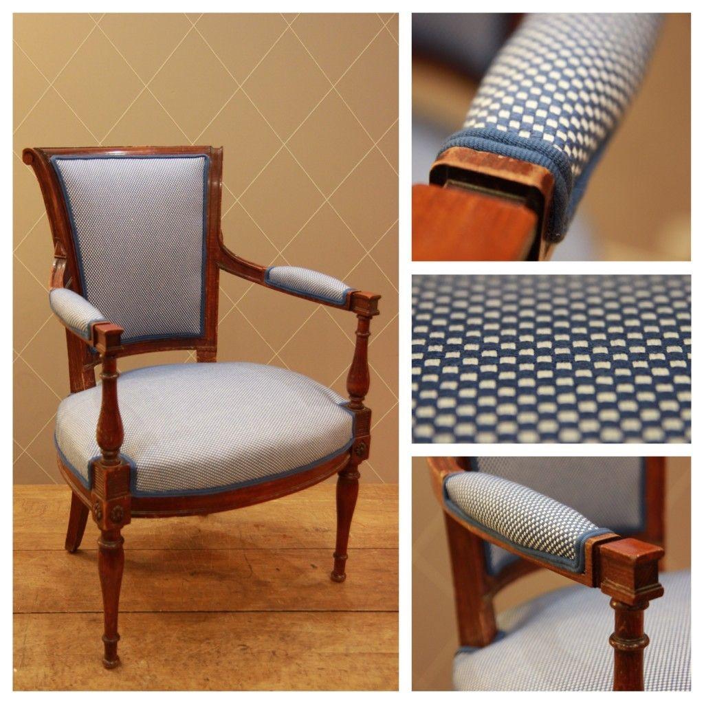 Fauteuil Style Louis Xvi Acajou Bleu Fauteuil Chair Dining