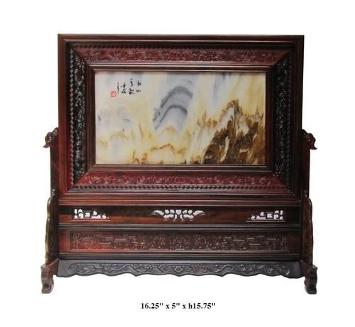 This Fen shui table screen is made of natural stone and has natural stone vein mountain graphic. The frame is made of nice and rare Hua Li rosewood and has dragon carving on it.   It is unique Feng shui decor to put in your living room or your office.