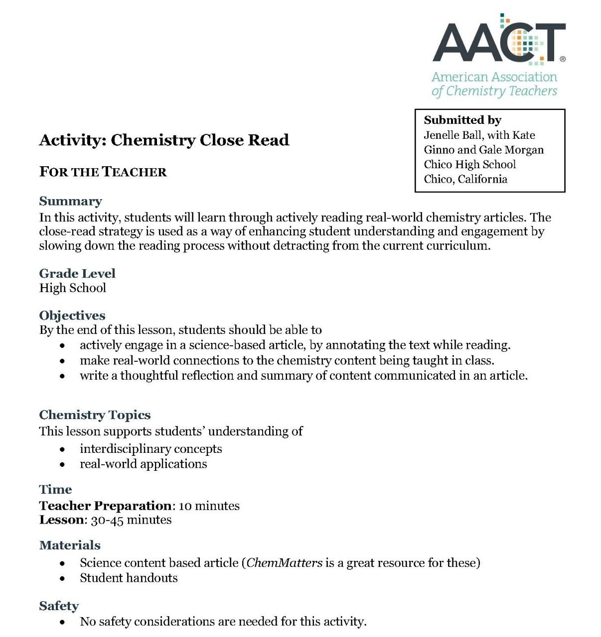 Chemistry Classroom Instruction Closereads Chemistry