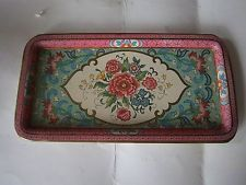 Daher Decorated Ware Tray Made In England Daher Decorated Ware Flowers Pink Green Rectangular Tray