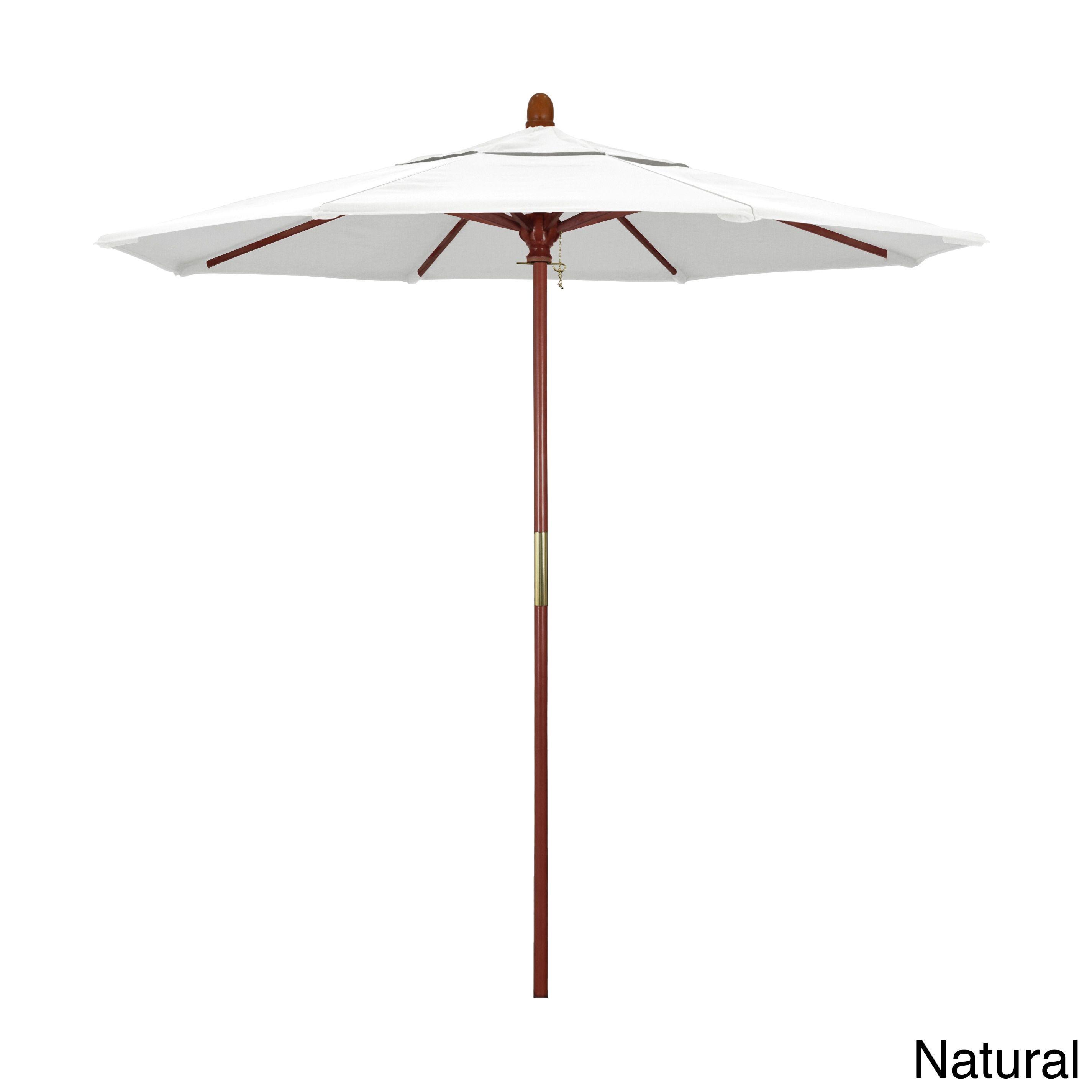 California Umbrella 7.5\' Round Marenti Wood Frame Market Umbrella ...