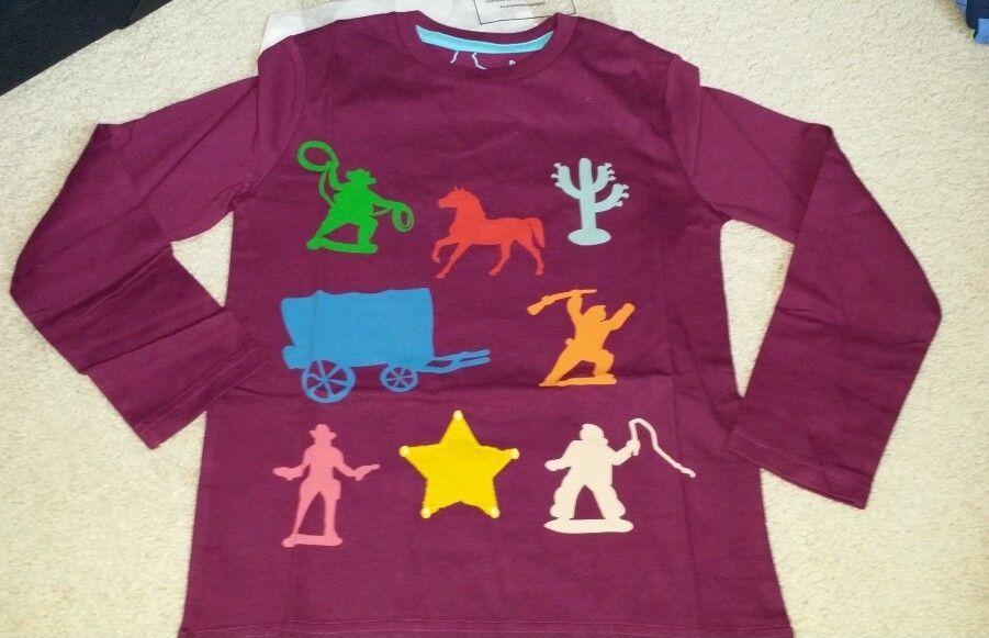 Mini boden boy shirt cowboy western purple long sleeve new