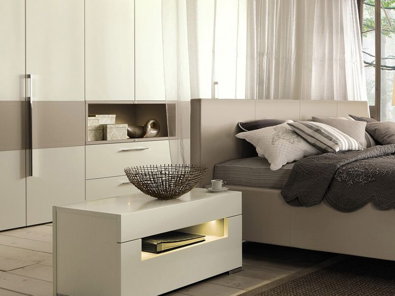 Lacquered Bedside Table With Built In Lights Elumo Ii Collection