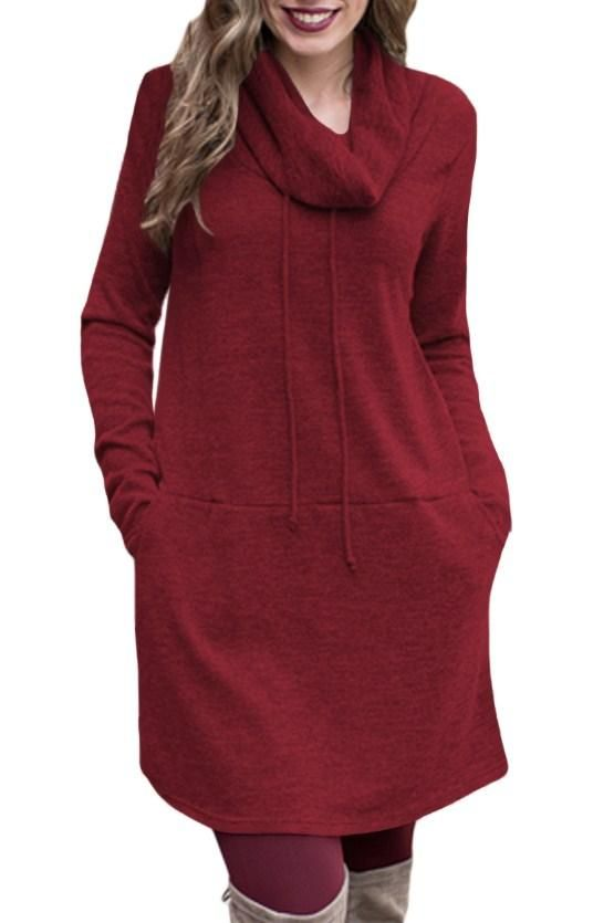 39d23e0980c Fashion Burgundy Drawstring Cowl Neck Sweatshirt Dress modeshe.com