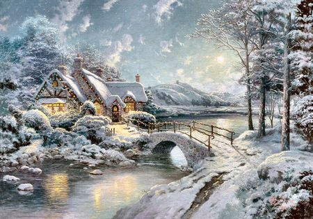 Christmas Moonlight F Winter Amp Nature Background Wallpapers On Kinkade Paintings Thomas Kinkade Paintings Thomas Kinkade Christmas