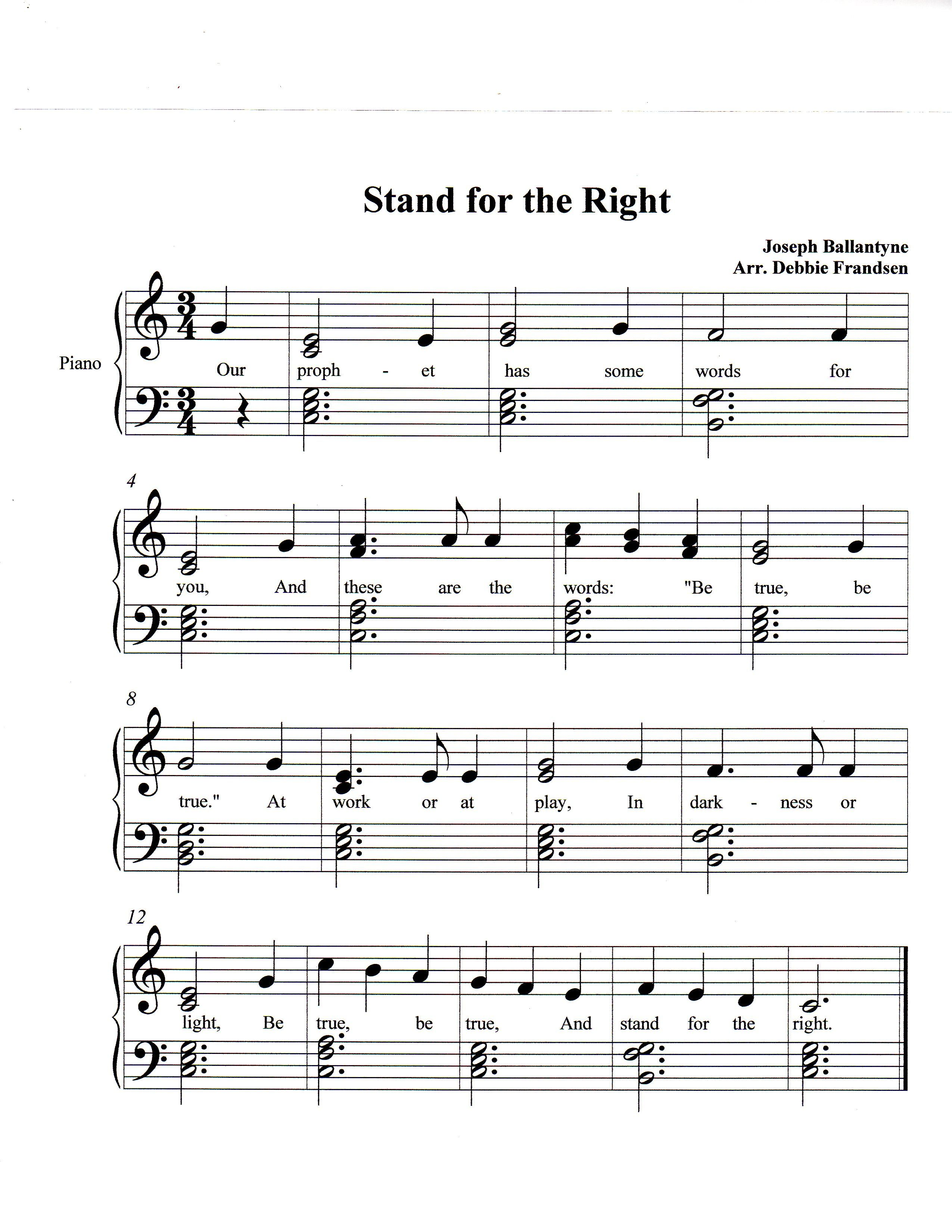 Stand For The Right Lds Music Let S Play Music Music Camp Lds