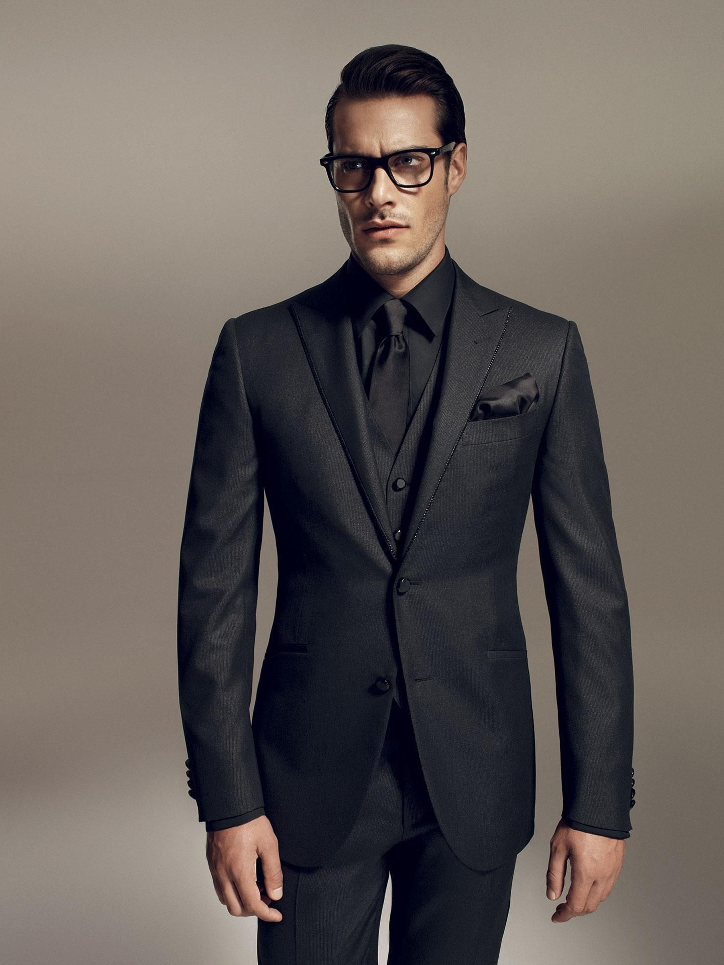 oooh tie and pocket square should be colorful! | dencio's ... Black Suit Styles