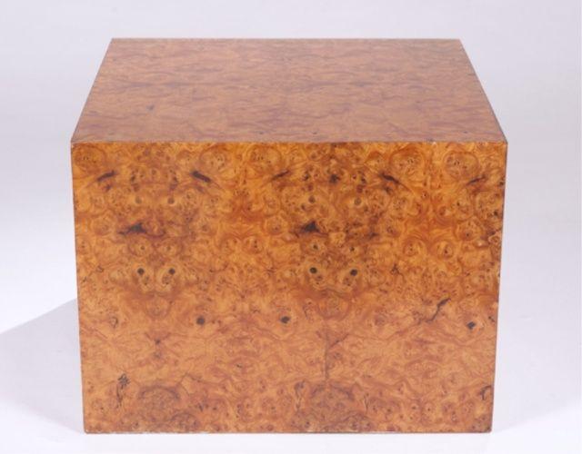 "Beautiful wood!  Mid century Modern burl elm cube end table.  A burl elm cube end table. Mid 20th century. 22 1/4""h x 29 1/2""."