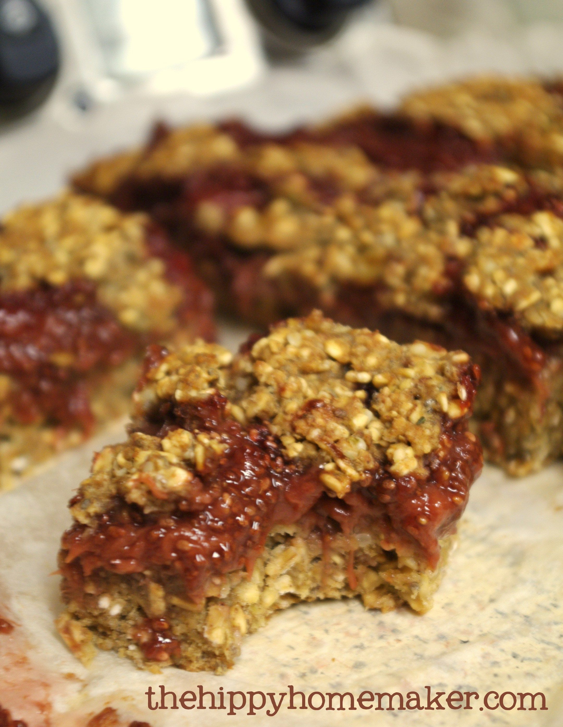 Strawberry Banana Energy Bars Vegan & Gluten-Free great for quick breakfasts, snacks, camping/hiking and more - thehippyhomemaker.com