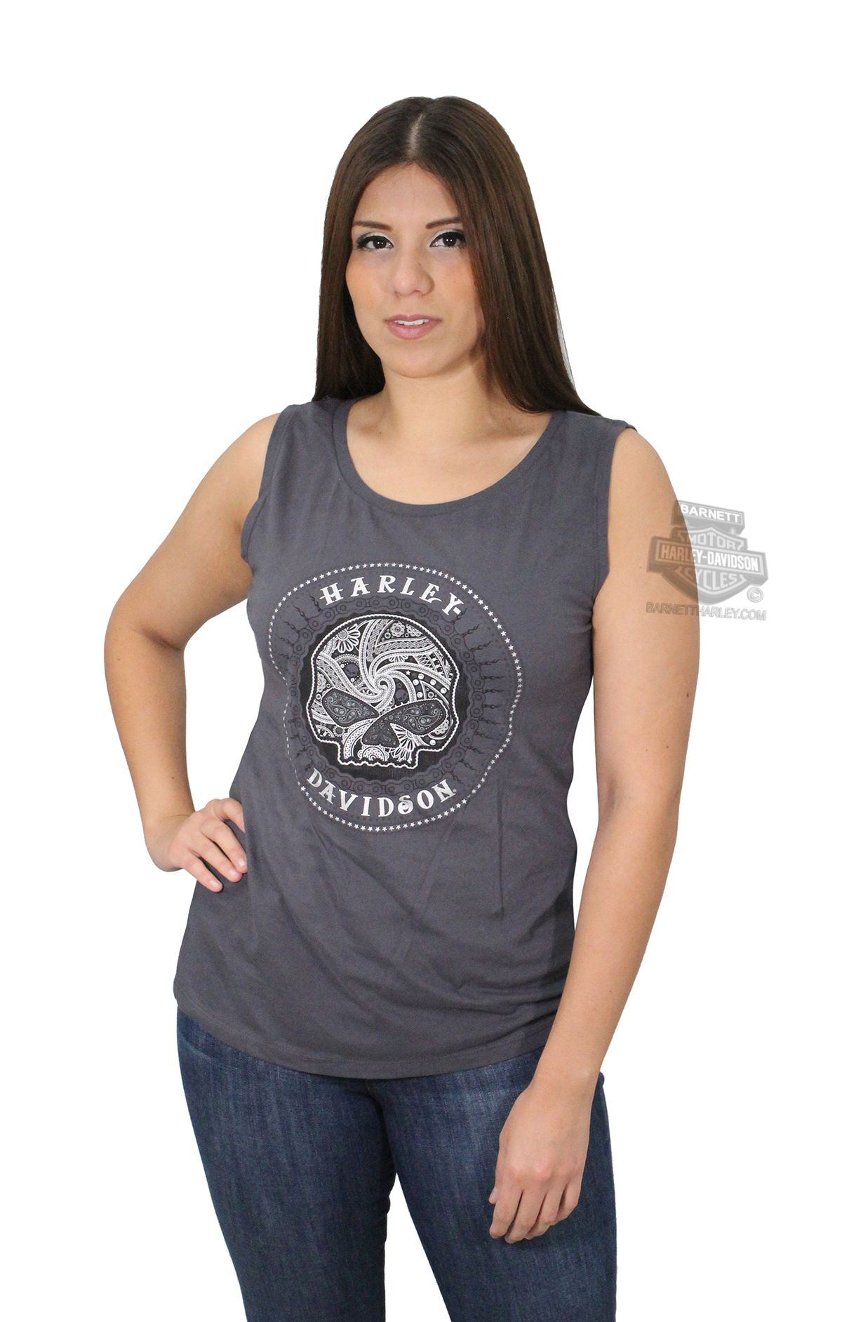 94081498 Harley-Davidson® Womens Willie G Calavera Sugar Skull Circle Grey Sleeveless  T-Shirt 5R21-H79K
