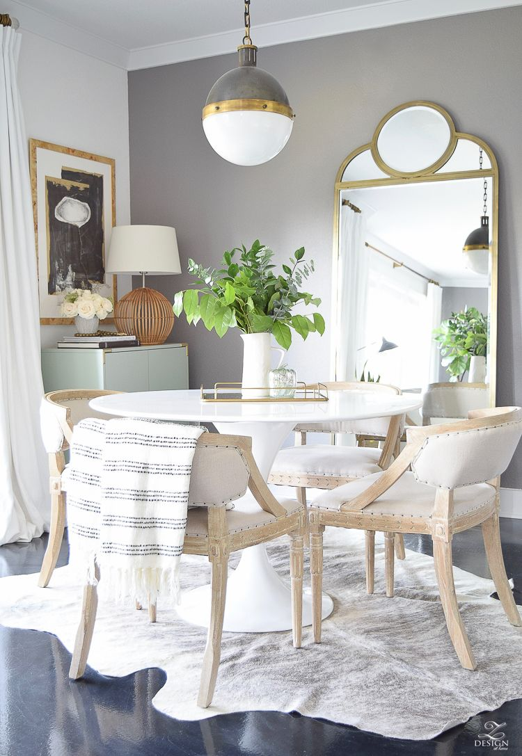 Transitional Modern Dining Room White Tulip Table Modern Fall Decor Clear  Pumpkin White Linen Curtains Whitman Pendant Brass Curtain Rods With Clear