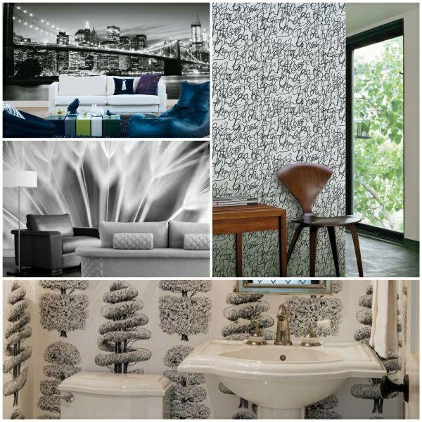 Tapeten Schwarz Weiß Wand Gestalten | Wohnen | Pinterest