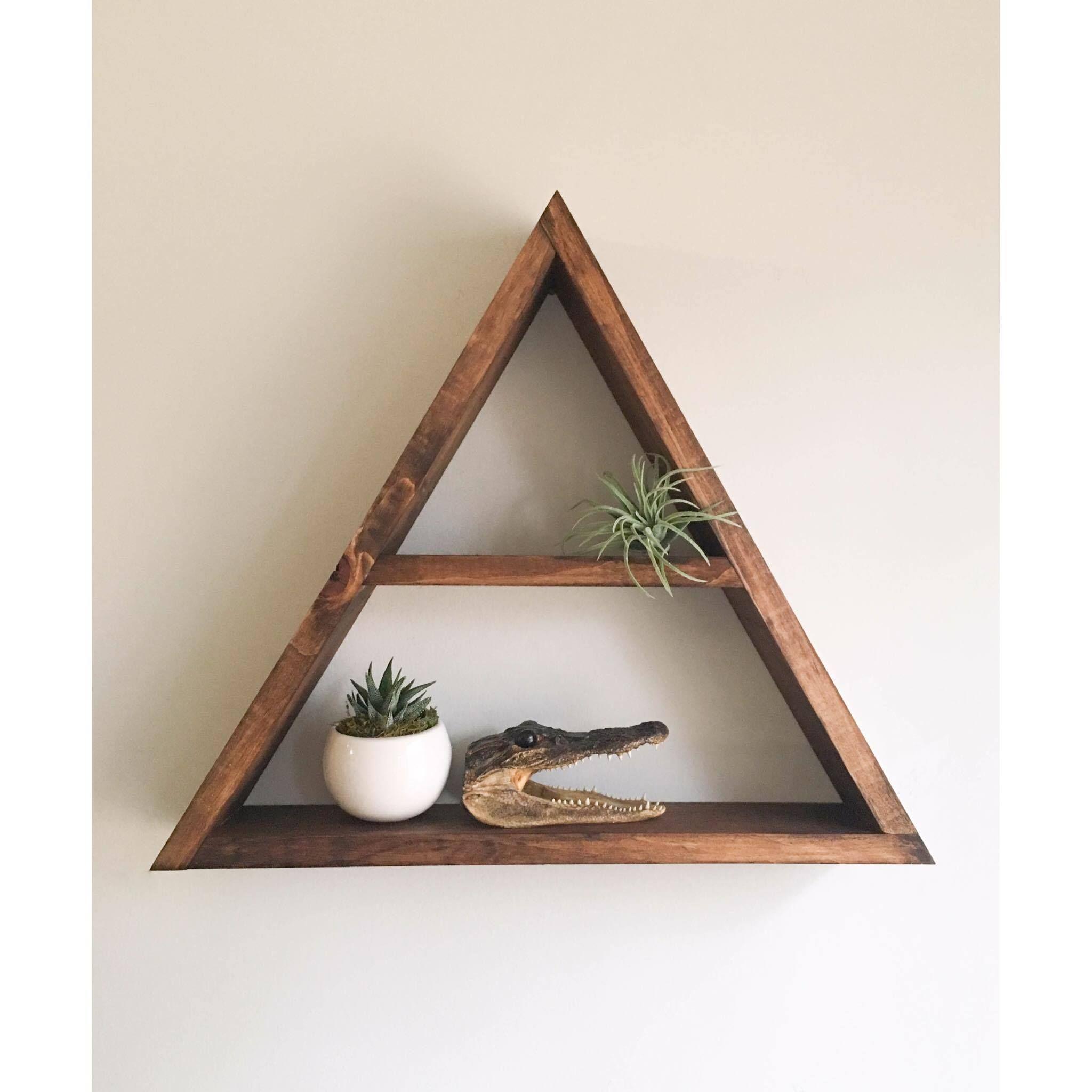 triangle shelf crystal shelf shadow box wood shelf floating shelf wall shelf crystal display crystal altar