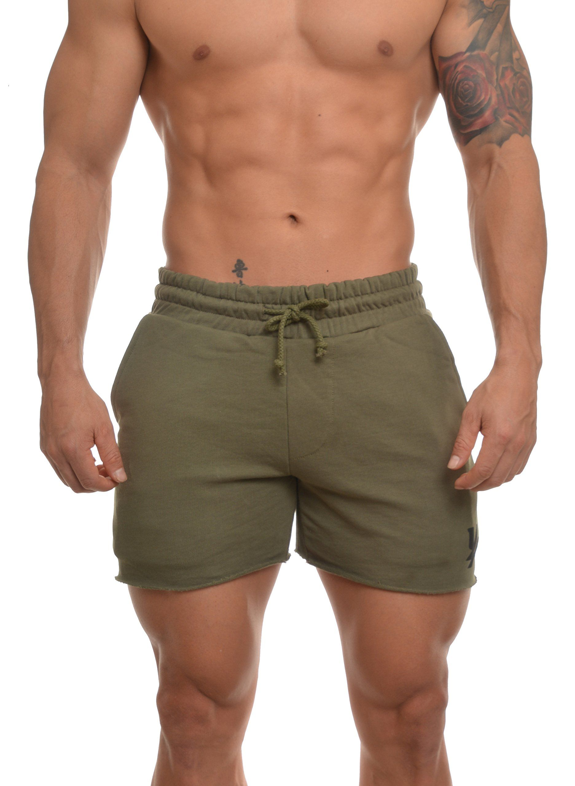 dc8f939a1e Youngla Men's French Terry Solid Bodybuilding Gym Running Workout Shorts  Olive Large. CREATED TO FIT