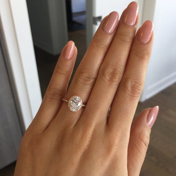 225 ctw Oval Halo Ring Vintage Style Engagement Ring Man Made Diamond Simulants Art Deco Halo Ring Sterling Silver Rose Gold Plated