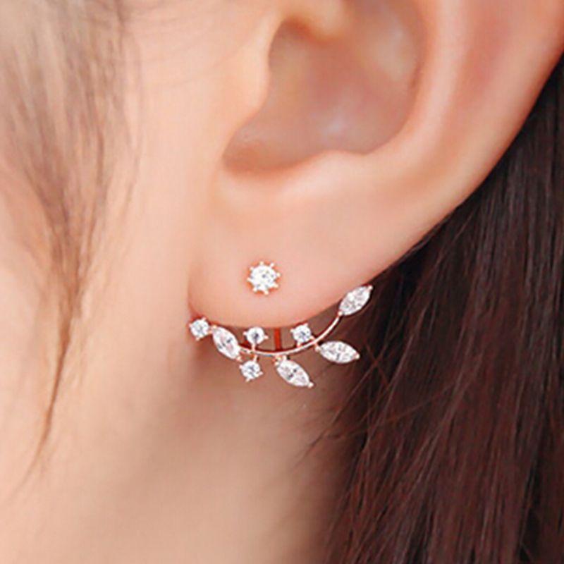 korean earing ღ Ƹ̵̡Ӝ̵̨̄Ʒ ღ rose gold earring Leaves earings ...